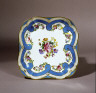 Royal Manufactory of Sèvres / Part of a Dessert Service with Flowers and Turquoise Blue Ribbons: A Square Fruit Dish / 1782
