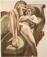 Reclining Nude On Green Couch