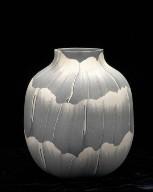 Bottle Vase in Gray and White