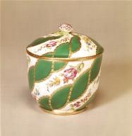 [Sugar Bowl with Diagonal Floral Garlands and Green Ribbons, Duplessis soft-paste porcelain sugar bowl]