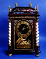 Ebony and Pewter Religieuse Wall Clock with Ivory Twist Columns