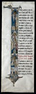 Fragment of a Latin Bible with Historiated Initial (I); The Marriage at Cana