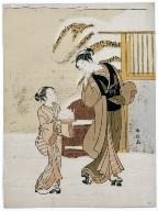 Young Woman Admiring a Snow Rabbit