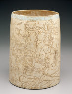 Incised cylinder vessel depicting an enthroned lord and God K