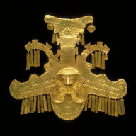 Headdress ornament with heads flanked by crested crocodiles