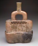 Stirrup-spout vessel in the form of a temple
