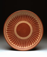 Plate with radiating feather design