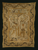 Lenten curtain depicting the Crucifixion and symbols of the Passion