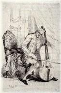 Le joueur de violoncelle, seventh plate, opposite p. 70 in the book, Catalogue complet d? eaux-fortes originales et inédites (Paris: Vve A. Cadart, 1878)