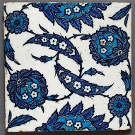 Blue and White Tile with Saz Leaves