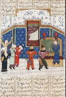 Hormuz Tied to a Column and Beaten; Page from a Manuscript of the Shahnama of Firdawsi