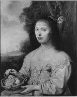 Portrait of a Young Woman Holding a Basket of Fruit