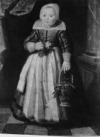 Portrait of a Girl in Frisian Costume Holding a Rose and a Basket of Cherries