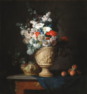 Bouquet of Flowers in a Terracotta Vase, with Peaches and Grapes