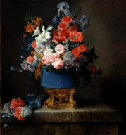 Bouquet of Flowers in a Blue Porcelain Vase