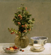 Still Life with Vase of Hawthorn, Bowl of Cherries, Japanese Bowl, and Cup and Saucer