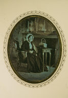 Portrait of woman in parlor with sewing materials