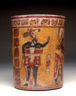 Cylindrical vessel with ritual ball game scene
