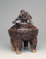 Lidded tetrapod bowl with paddler and peccaries