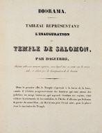Diorama. Tableau Représentant L'Inauguration du Temple de Salomon