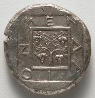 Tetradrachm: Square, Vine, Inscription (reverse)
