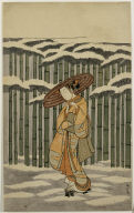 Girl Tying Her Hat Beside a Snowy Bamboo Grove