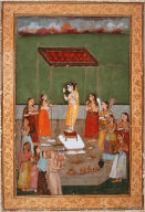Woman Looking in a Mirror with Attendants (bridal scene)