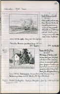 Artist's ledger - Book II: P. 43 YACHT RIDING A SWELL HOUSE WITH BIG PINE