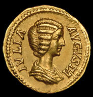 [Coin Showing Empress Julia Domna, Reverse: 'Piety' offers incense at altar, Coin: Piety Stands (reverse)]