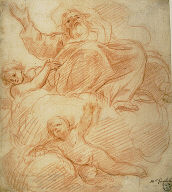 [Study for God the Father, Final Published Work: God the Father in Glory, fresco, Cesi Chapel, San Prassede, Rome, c.1660]