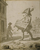 [Soldier Carrying a Piece of Furniture, Man with Handorgan]