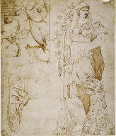 Three Sketches: Fortitude, a Sandal, and Grotesques