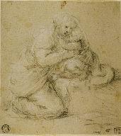 Kneeling Mother Embracing Child