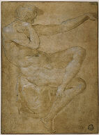 Seated Male Nude with Outstretched Left Arm