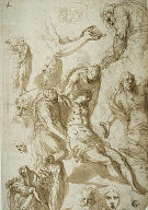 Sketches for a Lamentation and a Pietá, and of Various Figures, Heads, and an Arm
