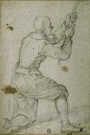 Man on Bended Knee, Pulling on Rope