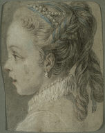 [Study: Head of a Young Girl Facing to the Left, Young Girl Facing to the Left, Portrait of the Artist's Daughter Facing Left, Final Published Work: Allegory of Music, c.1755, oil on canvas, Palace of the Legion of Honor, San Francisco]
