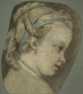 [Study: Head of a Young Girl Facing to the Right, Young Girl Facing to the Right, Portrait of the Artist's Daughter Facing Right, Final Published Work: Allegory of Painting, c.1755, oil on canvas, Palace of the Legion of Honor, San Francisco]