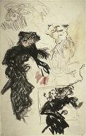 [Sheet of Studies, Woman with Umbrella, Final Published Work: Femme au Parapluie, lithograph pulished in L'Album de la Revue Blanche, 1895]
