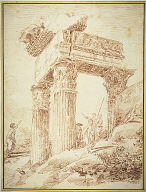 [Temple of Vespasian, Figures Amid the Ruins of the Temple of Vespasian]