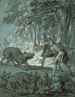 """[Men Attacking Wolves (""""Rien de Trop III""""), Rien de Trop (illustration of La Fontaine's Fable CLXXX-Men Attacking the Wolves), Illustration for La Fontaine's Fable 'Rien de Trop' III, Final Published Work: Fable CLXXX, Jean de la Fontaine, 'Fables Choises' Paris, 1755-59, four volumes]"""
