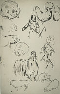 [Sketches for a Natural History (Histoires naturelles), Sketches of Pigs, Sheep, Goats, Rooster]