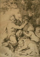 [Satyr Pressing Grapes Beside a Tiger, Copy, Final Published Work: Workshop of Rubens, Satyr Pressing Grapes, oil painting, Dresden, Kunstmuseum, Satyre pressant du raisin et tigre]