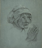 [Bust of an Old Woman Praying, Study of the Head and Hands of an Old Woman Looking Up]