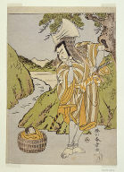 The actor Matsumoto Koshiro II as Osada no Taro Kagemune disguised as the woodcutter Gankutsu no Goroz{Psi}, in act four (?) of the play Nue no Mori Ichiyo no Mato (Forest of the Nue Monster: Target of the Eleventh Month)