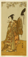 The actors Ichikawa Monnosuke II as Shimokobe Shoji Yukihira in the play Gohiiki Kanjincho (Your Favorite Play Kanjincho [The Subscription List]), performed at the Nakamura Theater from the first day of the eleventh month, 1773