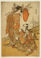 The actors Ichikawa Monnosuke II and Segawa Kikunojo III as the lovers Seijuro (right) and Onatsu (left)