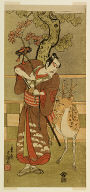 The actor Ichikawa Yaozo II as Goi no Sho Munesada with a deer, in the play Kuni no Hana Ono no Itsumoji (Flower of Japan: Ono no Komachi's Five Characters), performed at the Nakamura Theater from the first day of the eleventh month, 1771