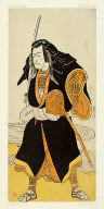 The actor Ichikawa Danjuro V, probably as Ise no Saburo disguised as Sanjo Uemon, leader of a robber gang, in part two of the play Fude-hajime Kanjincho (First Calligraphy of the New Year: Kanjincho [The Subscription List])