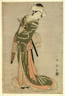 The actor Nakamura Noshio II as Tonase, in the bridal journey scene, act eight of the play Kanadehon Chushingura